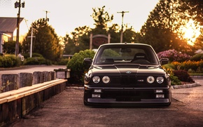 Picture BMW, black, front, E30, 3 Series, Evoked