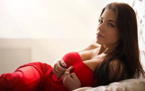 Picture chest, look, girl, face, pose, model, portrait, ring, brunette, red, sexy, beautiful, beauty, chic, long-haired, ...
