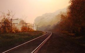Picture autumn, forest, trees, landscape, fog, posts, rails, picture, art, railroad, Brian Slawson