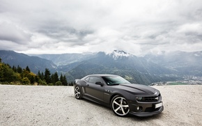 Picture the sky, mountains, clouds, black, Chevrolet, black, chevrolet, camaro ss, Camaro SS