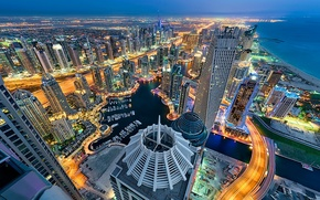 Wallpaper UAE, panorama, Dubai, night city, skyscrapers, Dubai, coast, sea, UAE, building