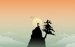 Picture the sun, mountain, minimalism, vector