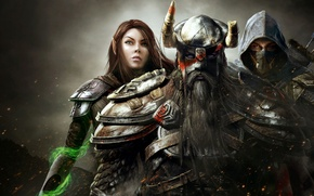Wallpaper girl, magic, warrior, hood, MAG, helmet, men, assassin, The Elder Scrolls Online