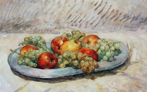 Picture Apple, picture, grapes, pear, dish, Henri Lebacq, Still life with fruit