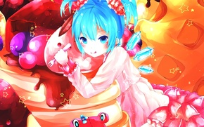 Picture toy, art, crystals, plug, touhou, cirno, milchiah, zvesdochka, girl. sweets