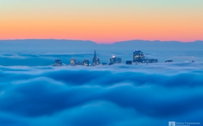 Picture the sky, the city, fog, dal, San Francisco, photographer, Kenji Yamamura