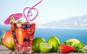 Wallpaper fruit, paradise, drink, beach, beach, cocktail, sea, sea, cocktail, fruit, summer, tropical, fresh