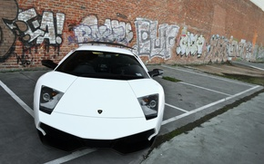 Picture white, wall, graffiti, Parking, wall, white, lamborghini, graffiti, murcielago, the front, Lamborghini, Murcielago, lp670-4 sv