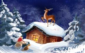Picture winter, snow, tale, deer