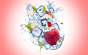 Picture ice, water, drops, background, Apple, Apple, ice, water, background, drops