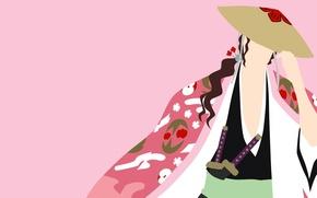 Picture sword, game, Bleach, hat, anime, katana, man, captain, asian, manga, commander, minimalism, japanese, kimono, oriental, …