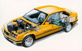 Picture background, engine, coupe, salon, Coupe, yellow, BMW M3, 1995, Electro Antrieb