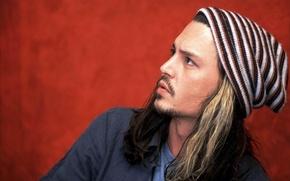 Wallpaper photo, Johnny Depp, hat, hair