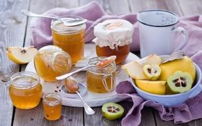 Picture jars, dishes, banks, fruit, jam, jam, quince, spoon, Anna Verdina