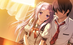 Picture girl, the sun, window, pair, form, guy, school, game cg, siawase kazokubu, amou mikage