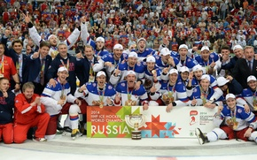 Picture joy, gold, victory, hockey, Russia, Russian, fans, Cup, Ovechkin, medals, Belarus, guys, team Russia, our, ...