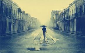 Picture monochrome, artwork, streets, buildings, lost