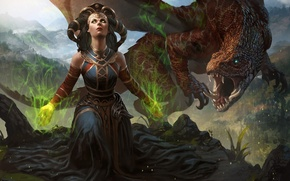 Picture eyes, girl, magic, dragon, art, the witch, Magic The Gathering