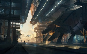 Picture fiction, ship, art, hangar, spaceship