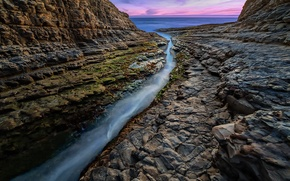 Picture water, sunset, stones, the ocean, rocks, CA, crack