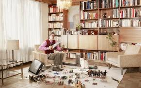 Wallpaper room, TV, saw, cat