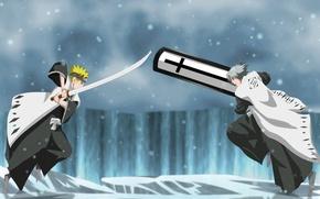 Picture demon, sword, ice, game, Bleach, Naruto, blizzard, anime, cross, blue eyes, katana, crossover, fight, ken, …