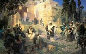 Picture the city, people, picture, the Bible, the prophet, Vasily Polenov