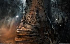 Picture fiction, rain, ship, statue