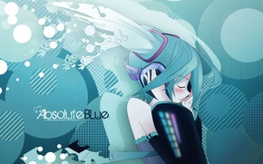 Picture girl, headphones, vocaloid, Vocaloid, Miku