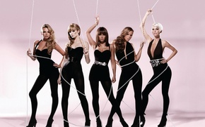 Picture girls, wire, pink background, Girls Aloud