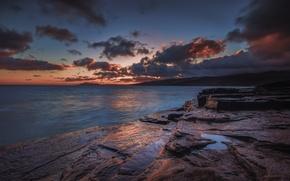 Picture sea, sunset, shore, twilight