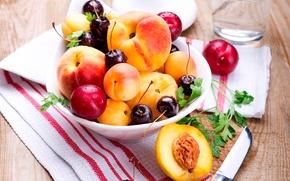 Wallpaper summer, cherry, berries, plate, knife, fruit, peaches, plum, cherry, napkin, apricots