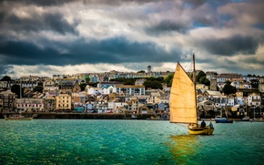 Picture clouds, home, sailboat, boats, UK, Cornwall, Falmouth Harbor