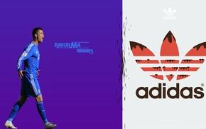Picture blue, Desk, Football, Adidas, Ronaldo, Krish