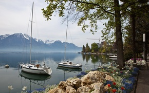 Picture landscape, mountains, nature, coast, yacht, Switzerland, Montreux, sailing