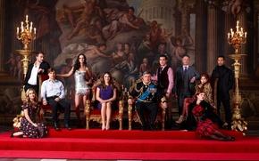 Picture Jasper, gold, girls, men, women, Eleonor, Elizabeth Hurley, Liam, chandelier, cast, King, Lionsgate, Simon, 2015, …
