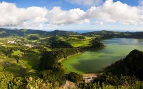 Picture clouds, landscape, nature, photo, top, Portugal, San Miguel, Azores