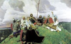 Picture painting, Bayan, Vasnetsov Viktor, the tale, Russkaya byl