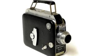Picture background, case, metal, Ciné-Kodak Eight Model 90, lens Kodak Anastigmatic 13mm f/1, Magazine, camera, silver-black
