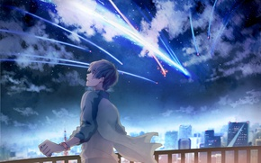 Picture the sky, stars, clouds, night, the city, home, anime, art, guy, shooting star, kimi no …