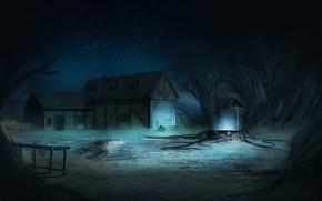 Picture light, trees, night, house, magic, stars, well, art
