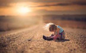 Wallpaper girl, bokeh, child, boots, road, the wind, dress