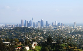 Picture Downtown, Park, megapolis, skyscrapers, Los Angeles, home, trees
