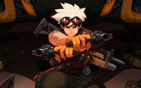Picture gun, weapon, boy, rifle, knife, revolver, gloves, rocket launcher, goggles, mortar, projectile, ammunitio, Metal Assault