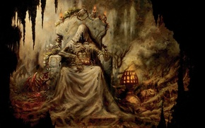 Picture flowers, candles, hood, cave, the throne, dead