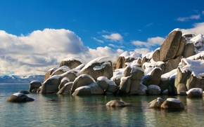 Picture the sky, clouds, snow, lake, stones, USA, CA, Tahoe
