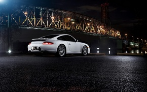 Wallpaper night, bridge, Porsche, porsche 911 carrera