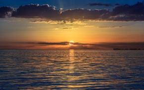 Picture sea, the sky, the sun, clouds, sunset, orange, The evening