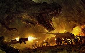 Picture dinosaur, battle, Turok 2
