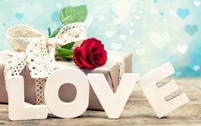 Wallpaper letters, love, rose, gift, Valentine's Day